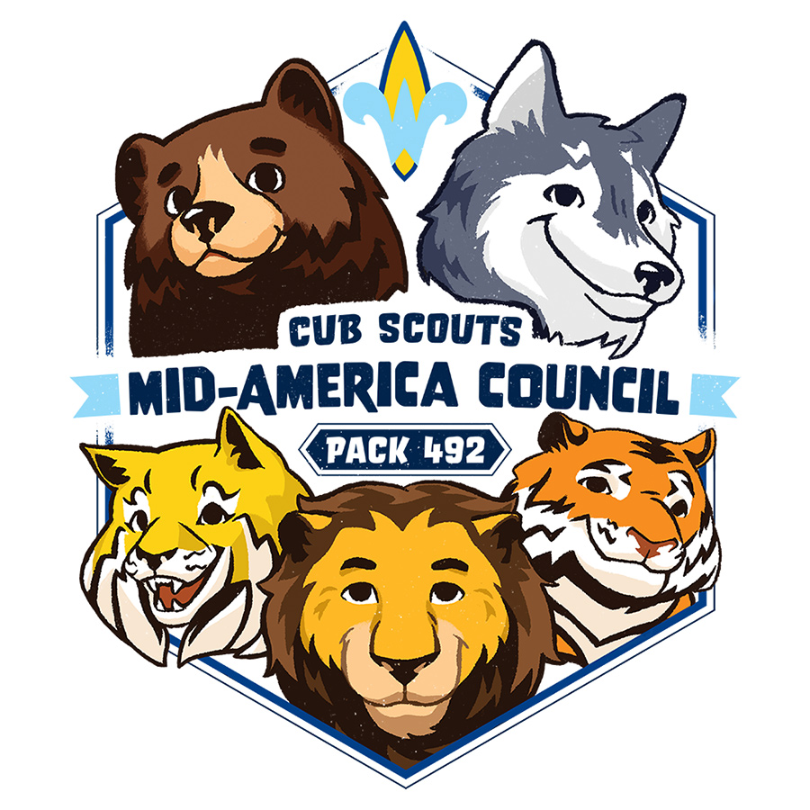 Cub Scout Pack 492, Mid-America Council logo design by logo designer Eleven19 for your inspiration and for the worlds largest logo competition