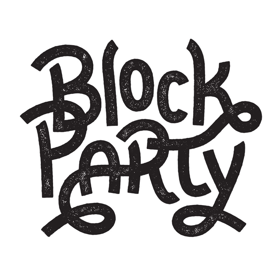 Block Party hand lettering