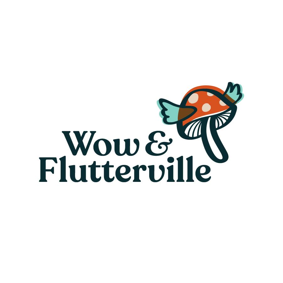 Wow & Flutterville logo design by logo designer Riddlesticks Creative