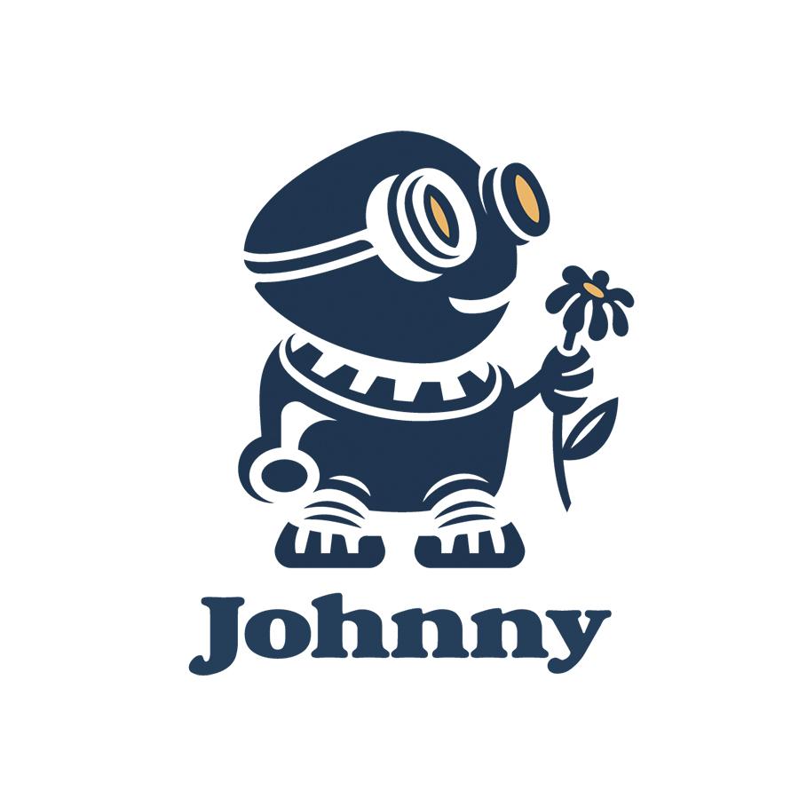 Robot And Flower Logo